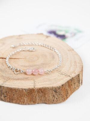 armband rozenkwarts met hartje / silver plated