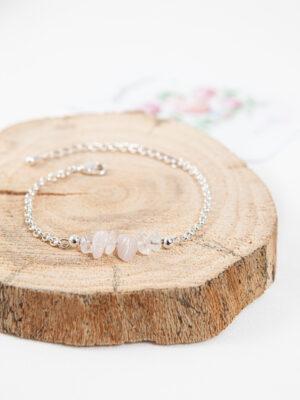 armband rozenkwarts / silver plated