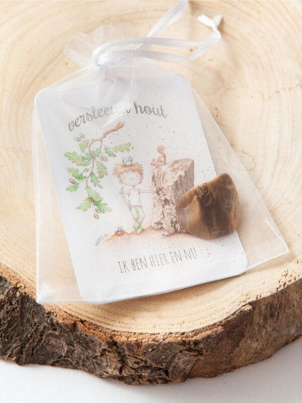 edelsteen pakketje versteend hout